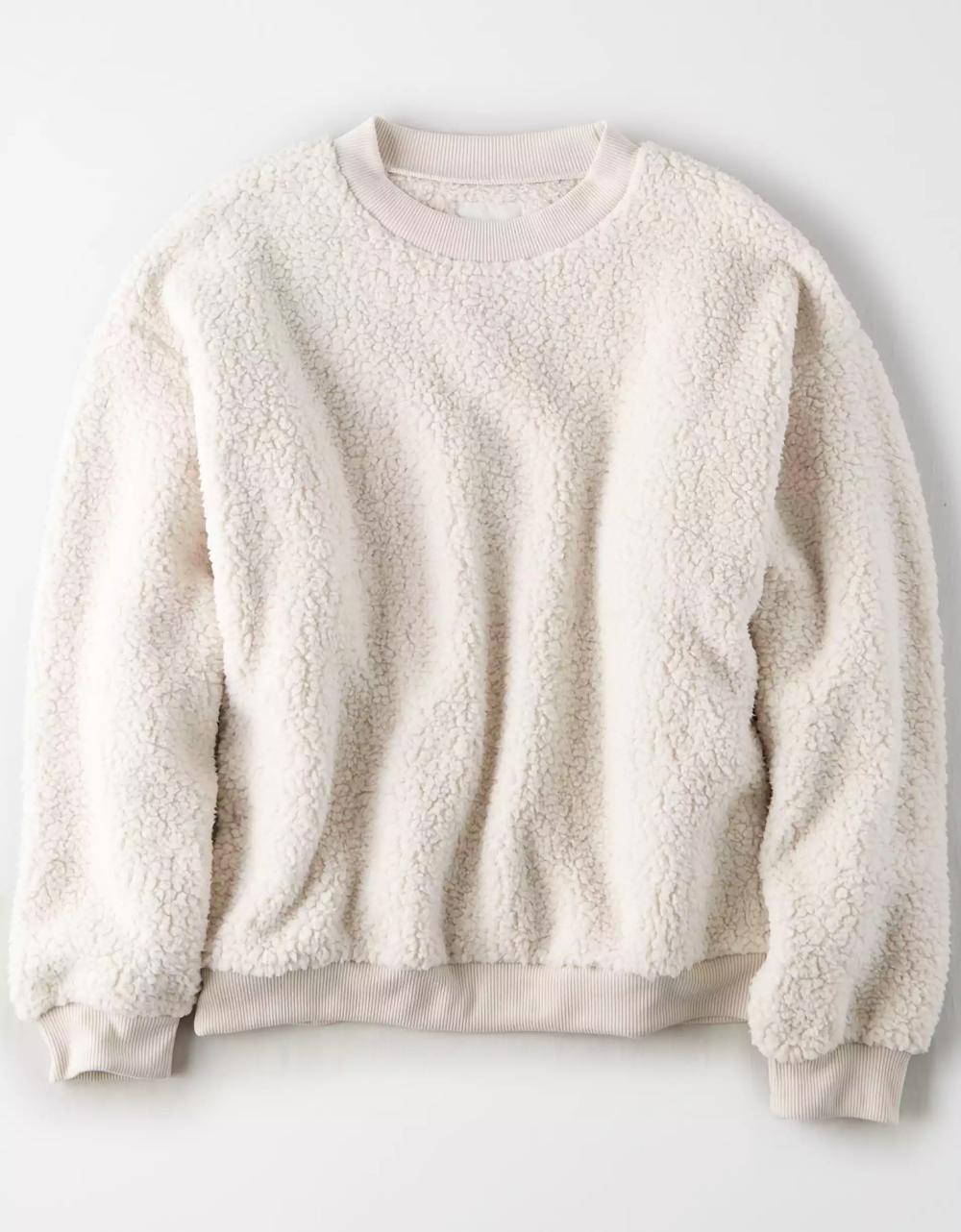 Ae Fuzzy Sherpa Cropped Crew Neck Sweatshirt Crew Neck Sweatshirt Mens Outfitters Sherpa Sweatshirt [ 1282 x 1000 Pixel ]