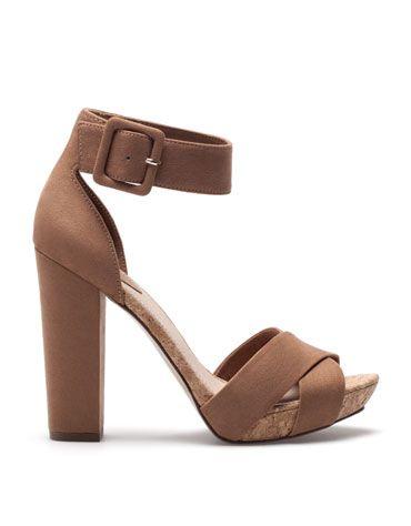 Bershka Mexico Sandalia Bershka Tacon Corcho Cork Heel Sandals Heels Sandals
