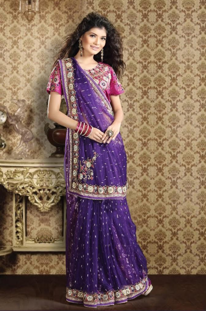 323.25 Purple Net Saree 21780 With Unstitched Blouse