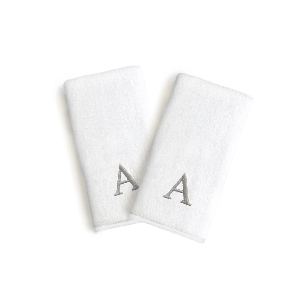 Authentic Hotel and Spa 2-piece White Turkish Cotton Hand Towels with Grey Block Monogrammed Initial (White/O)