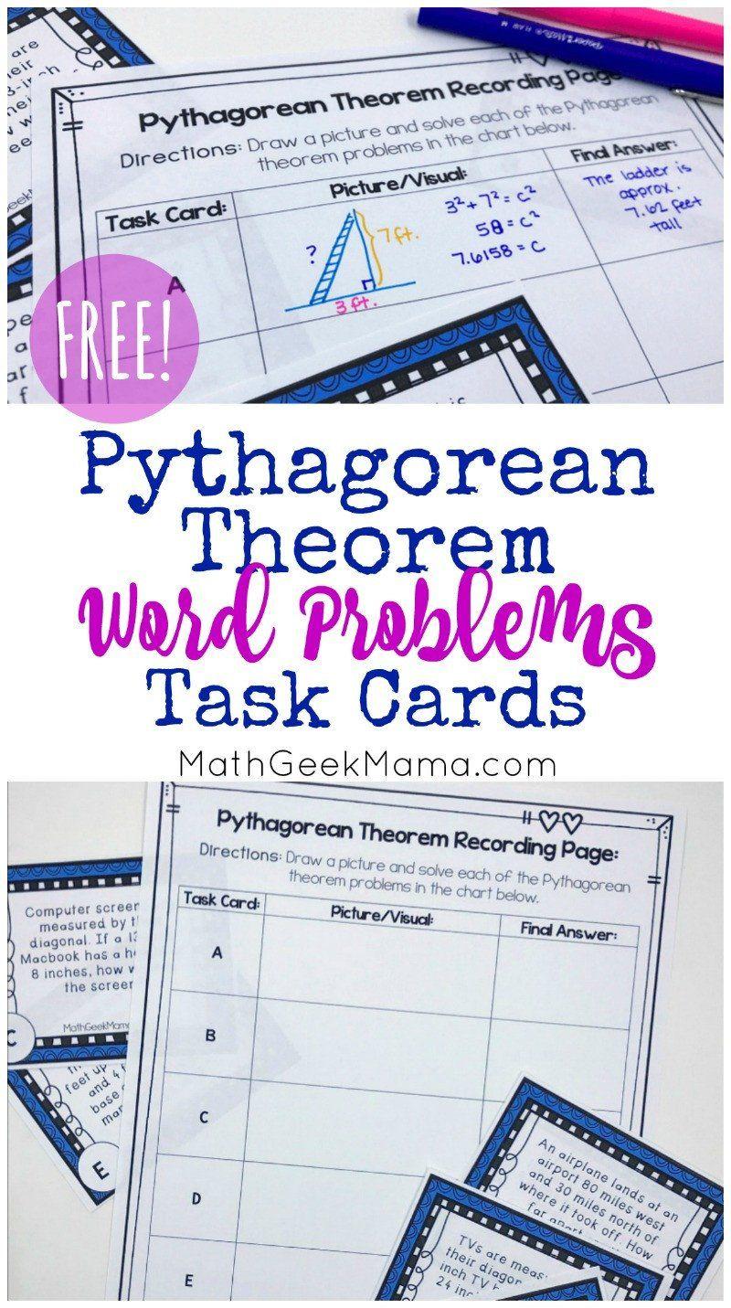 Pythagorean Theorem Word Problems Worksheet Free Pythagorean Theorem Word Problems Task Cards In 2020 Word Problems Task Cards Pythagorean Theorem Word Problems