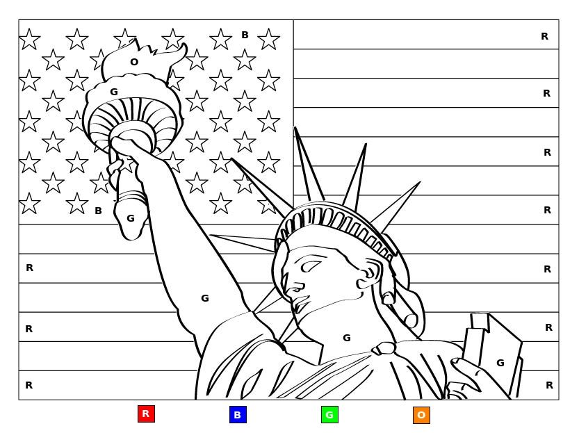 Miss Liberty American flag Color-By-Letter. Fun kids