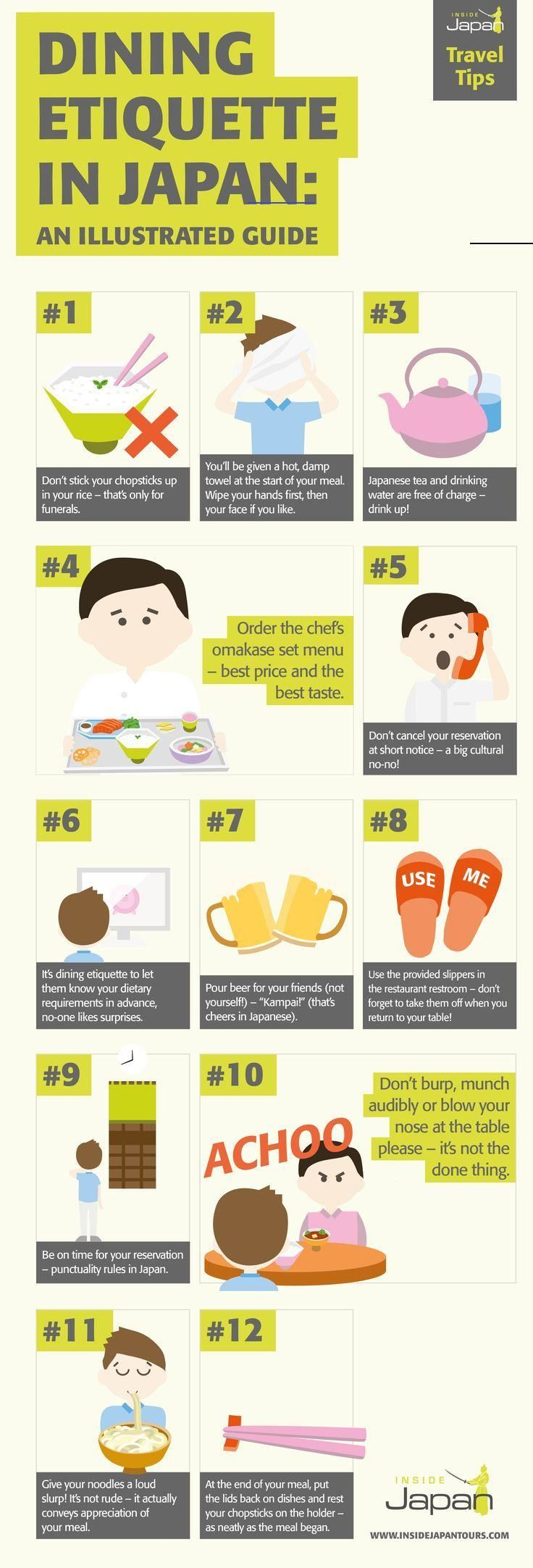 Dining etiquette in Japan: an illustrated guide - InsideJapan Tours This handy illustrated guide to dining etiquette in Japan will help you avoid any cultural faux pas. #JapaneseCuisine #Japan #Dining #EatingInJapan #JapaneseEtiquette #JapaneseCulture<br> Dining etiquette in Japan: Did you know that cancelling a dinner reservation is frowned upon? This illustrated guide will help you avoid dining faux pas.