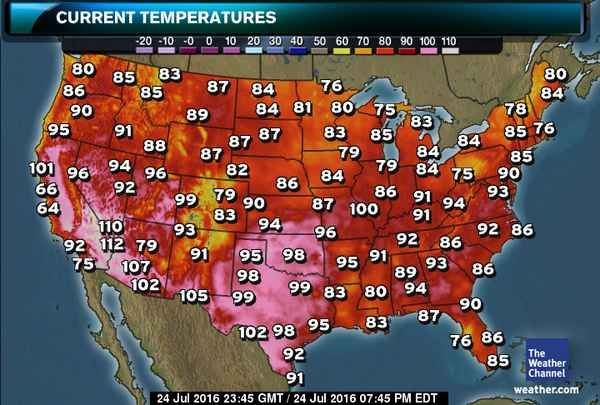 US Current Temperatures Map | The weather channel, San diego ...