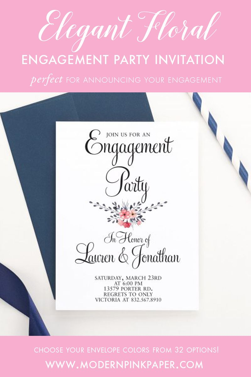 Floral Engagement Party Invitations, Modern Engagement Party Invites ...