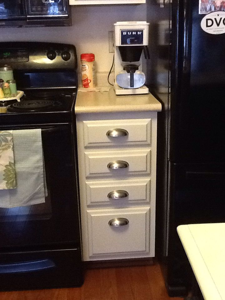 Doors · Original oak cabinet painted with Benjamin Moore Advance paint in Dover White to match new Barker & Original oak cabinet painted with Benjamin Moore Advance paint in ...