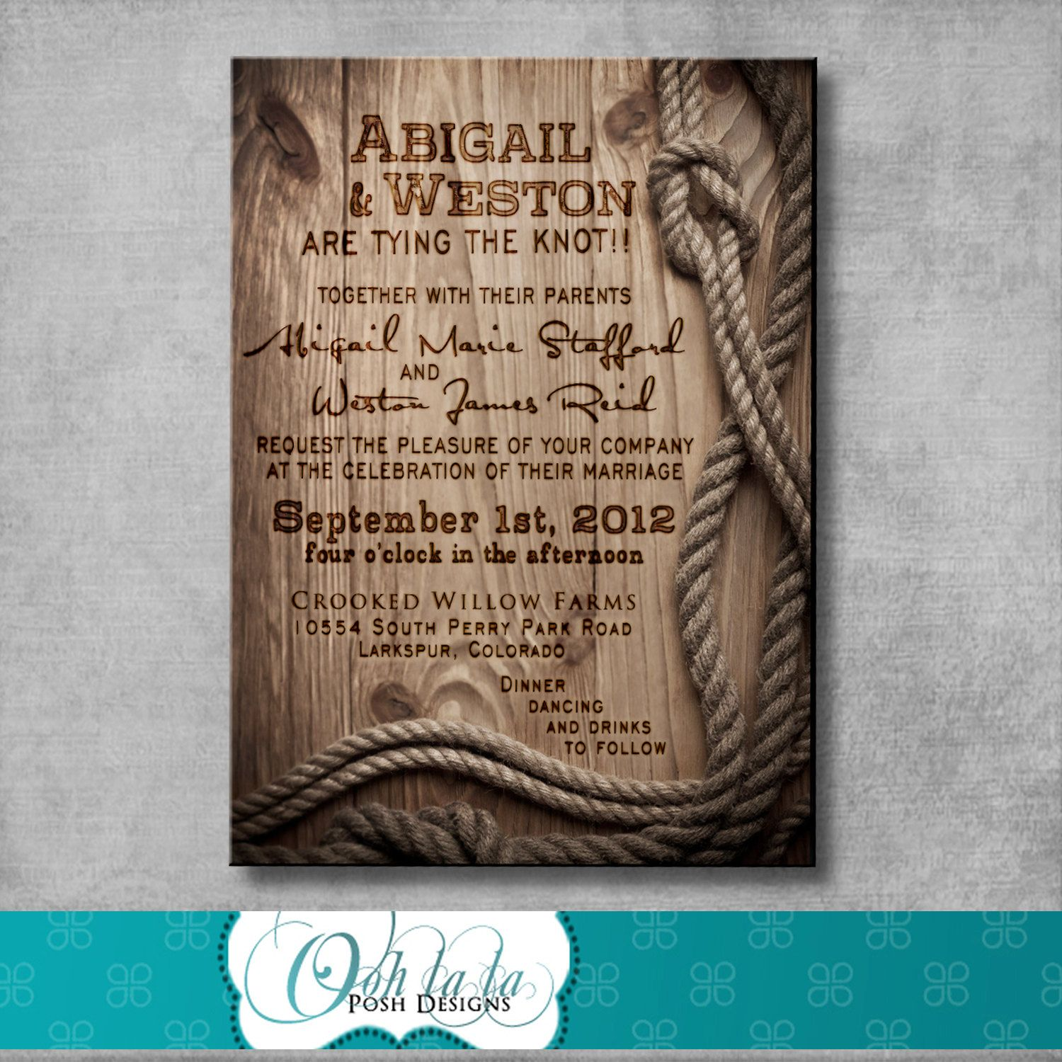 Rustic Wedding Invitation With Matching Response Card