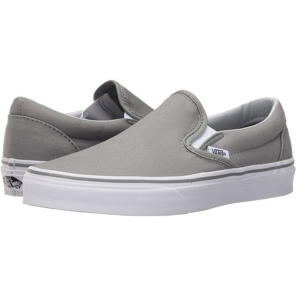 a2222f31f4 Vans Classic Slip-On (Wild Dove True White) Skate Shoes ( 31) ❤ liked on  Polyvore featuring shoes