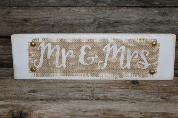 Mr And Mrs Table Sign Wedding Burlap Rustic By MyRusticPlace
