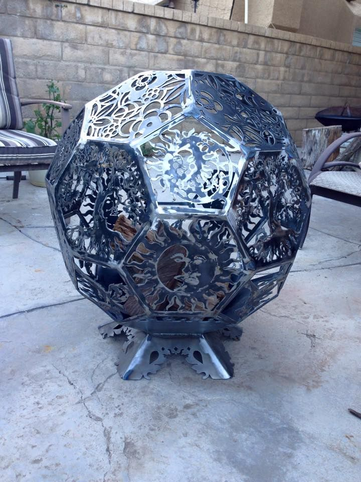 3d fire pit firepit fireplace fire place made from cnc cut steel octagon plates welded together into a ball. Pic 3