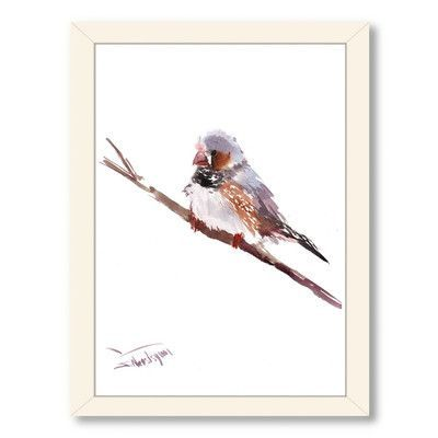 Americanflat Zabra-finch by Suren Nersisyan Framed Painting Print Frame Color: White