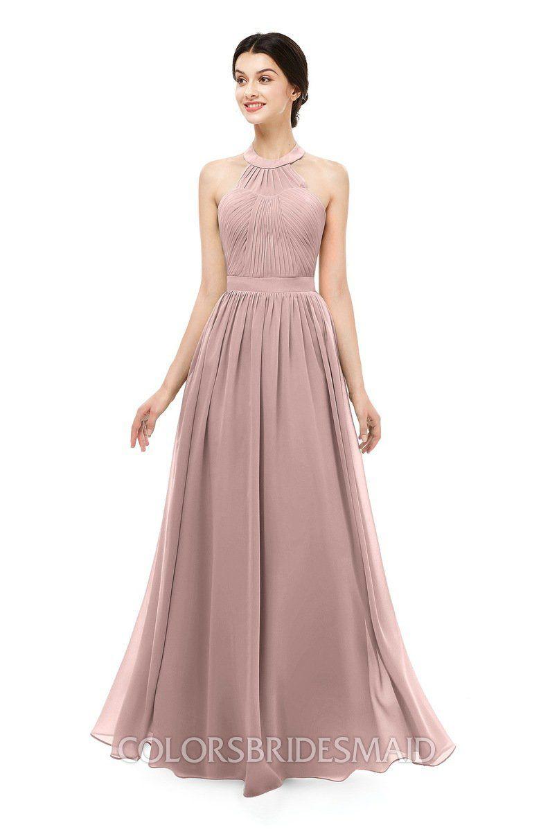 d6659bab47cc0 colorsbridesmaid.com offers Bridesmaid Dresses Floor Length Illusion  Sleeveless Ruching Romantic A-line at