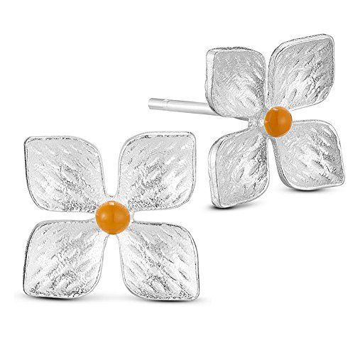 Luxurious 925 Sterling Silver Ear Studs, Four Leaf Clover with Enamel Bud, Silver, 10x10mm