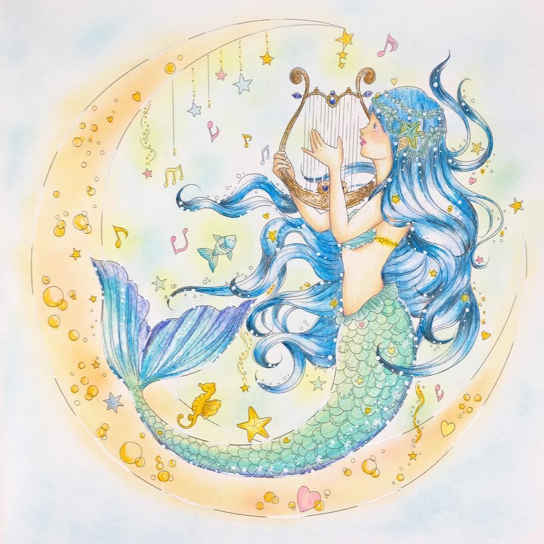 Gefallt 168 Mal 24 Kommentare Rie Nj Auf Instagram やっと完成 背景もう少し水色なのですが色が写りません 夢色プリンセス塗り絵 たけいみき 塗り絵 人魚 塗り絵 人魚 色