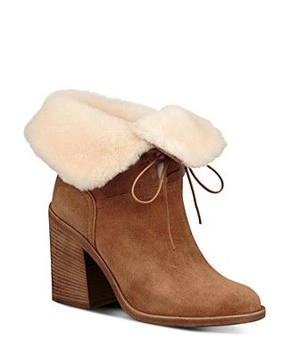 941b15d1cd7 UGG® Women's Jerene Suede and Sheepskin High Block Heel Booties ...