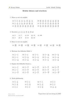 Brüche kürzen und erweitern | Arbeitsblatt #0607 | Schule ...
