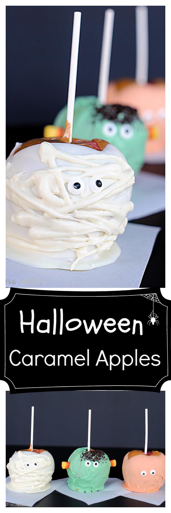 Cute Halloween Caramel Apples Pumpkin, Mummy & Monster