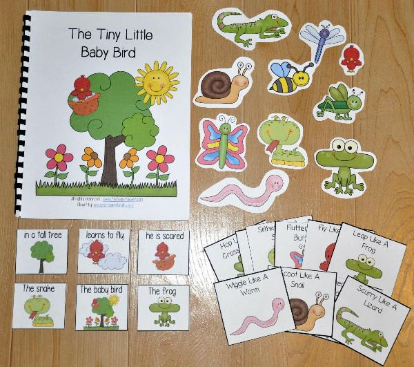 The Tiny Little Baby Bird W Wh Questions 3 00 File Folder Games At File Folder Heaven Printable Hands On F Adapted Books Wh Questions Autism Activities