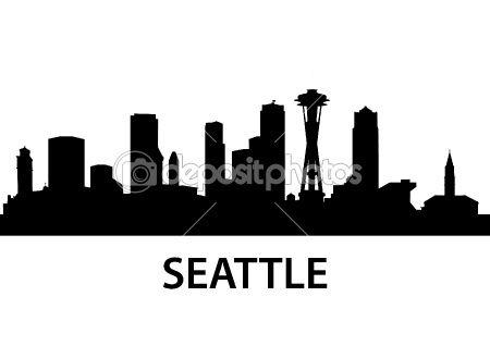 Skyline Seattle Seattle Skyline Silhouette Seattle Skyline Painting Skyline Silhouette