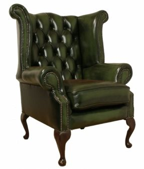 Gentil Green Library Sofa | Large Scale Vintage Leather Wingback Chair And Ottoman  |