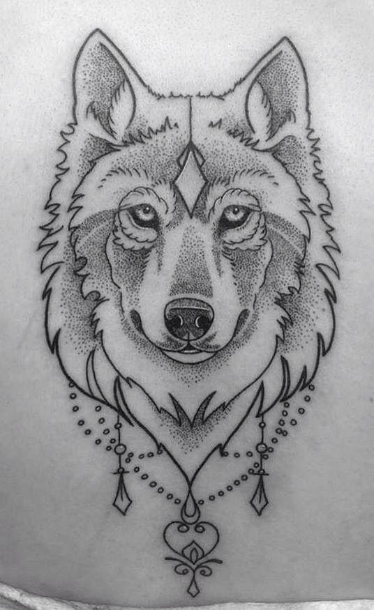 Photo of Wolf tattoo • Dot work • #tattoo #wolf #dotwork