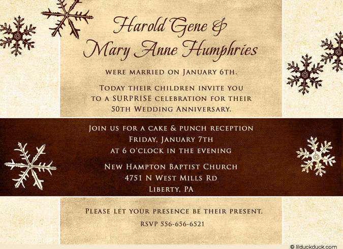 anniversary invitations 50th Snowy Surprise 50th Anniversary - anniversary invitation