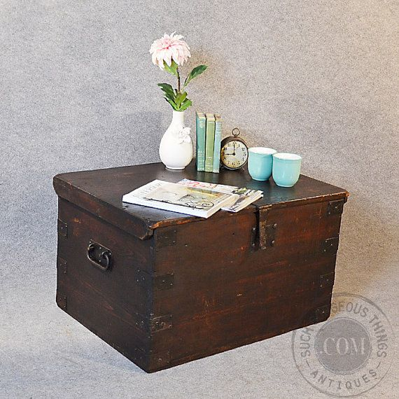 Antique Coffee Table Blanket Chest Trunk Victorian Railway Mail Strong Box C1880 On Etsy 815
