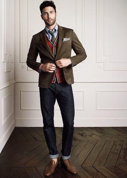 Men's Dark Brown Blazer, Red Cardigan, Light Blue Chambray Dress ...