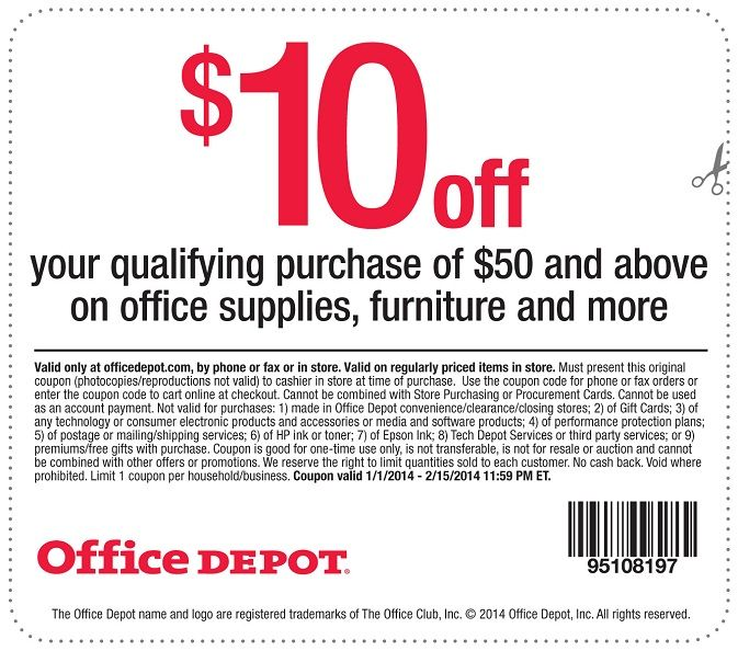 office depot coupon $10 off