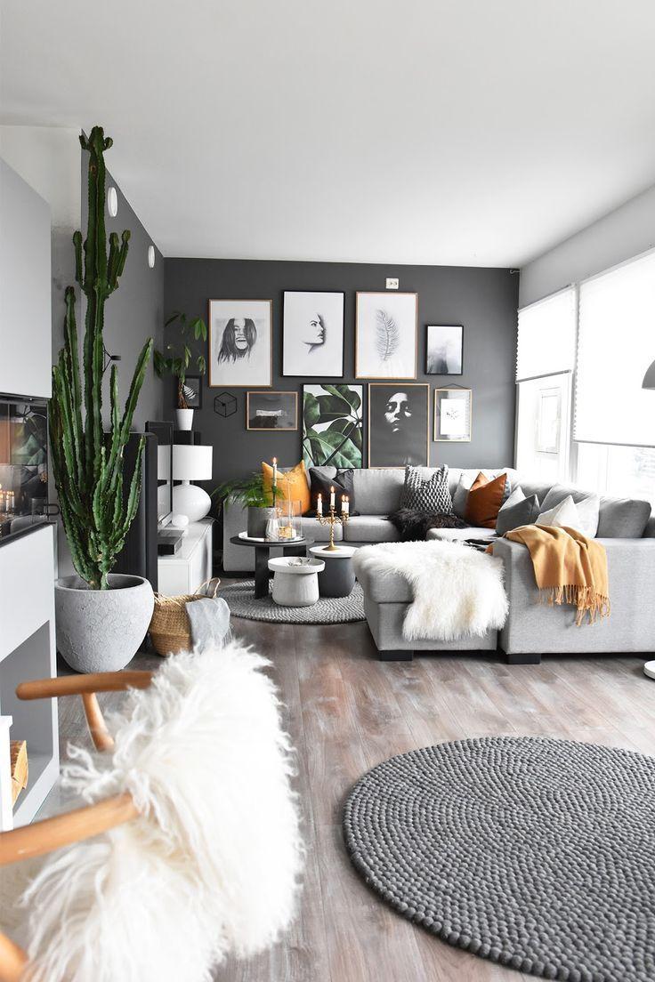 Photo of grey and mustard living room #interiordesignlivingroomonabudget