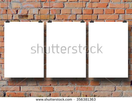 Stock Photo Three Hanged Blank Frames With Clips On Brick Wall Background Copy Space Stock Photos Frame Photo