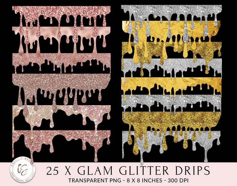 25 Dripping Glitter Frames Rose Gold Gold Silver Glitter Etsy Glitter Frame Dripping Frame