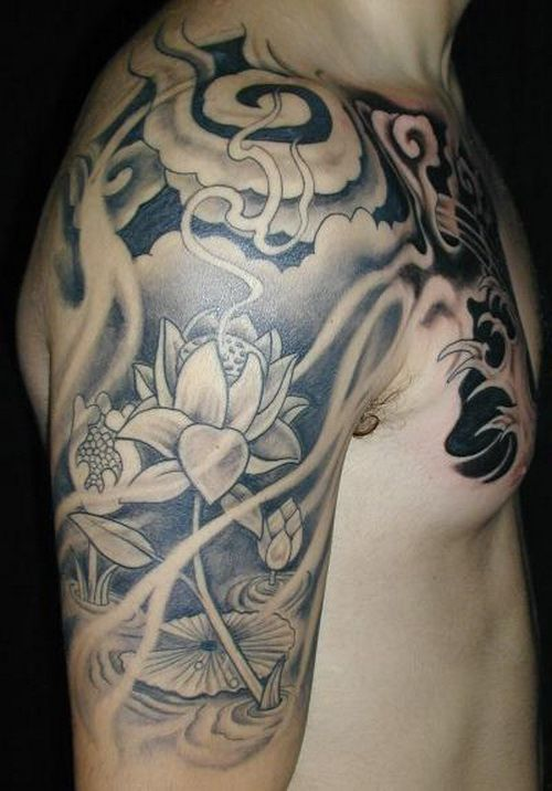 Black and white japanese lotus flower tattoo on man chest and half black and white japanese lotus flower tattoo on man chest and half mightylinksfo