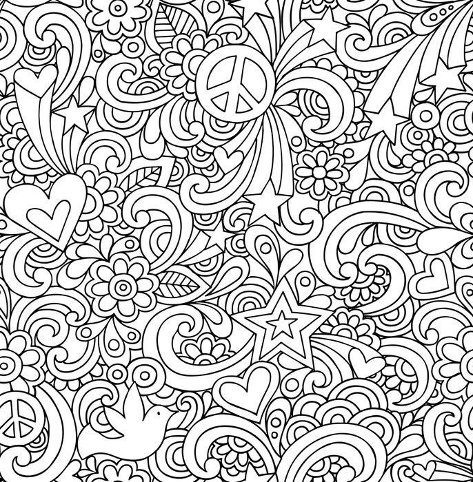 Seamless Notebook Doodles Psychedelic Groovy Pattern Wall