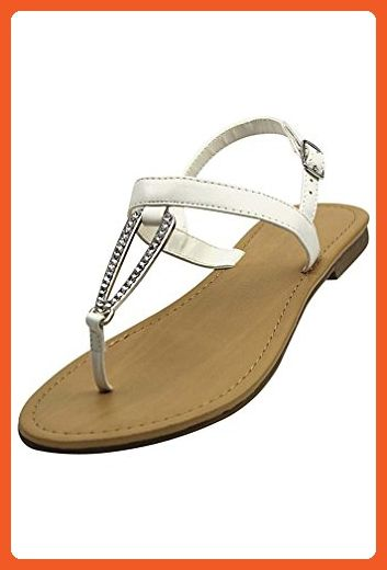 fcd7c54f1 White Thong Womens Sandals With Rhinestone Buckle Size 8 - Sandals for women  ( Amazon Partner-Link)