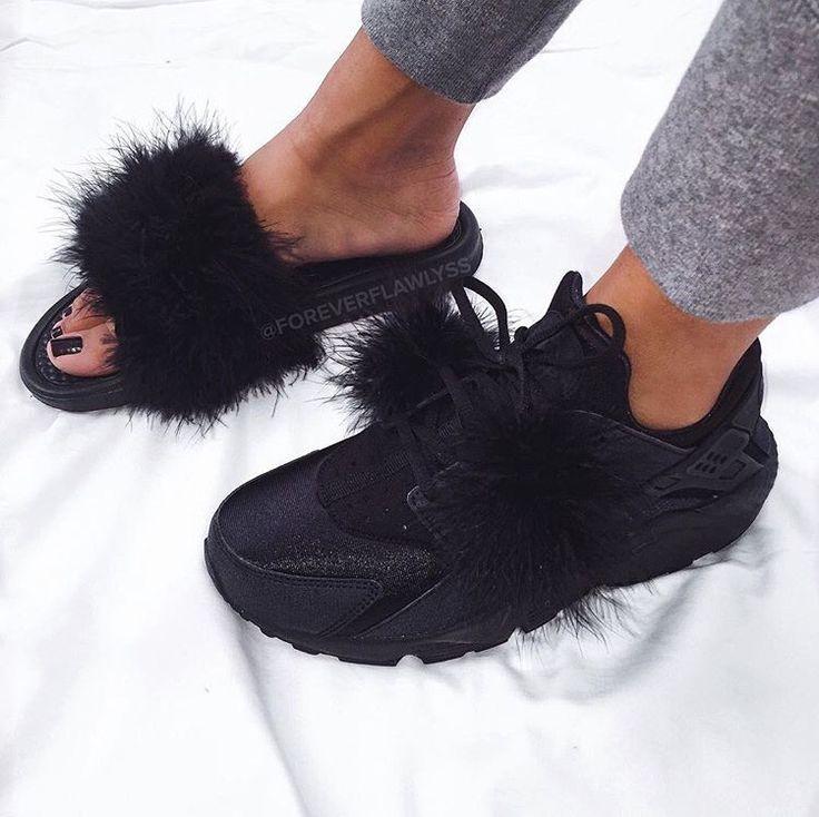 Instagram · Nike Huarache. Fur Slides.