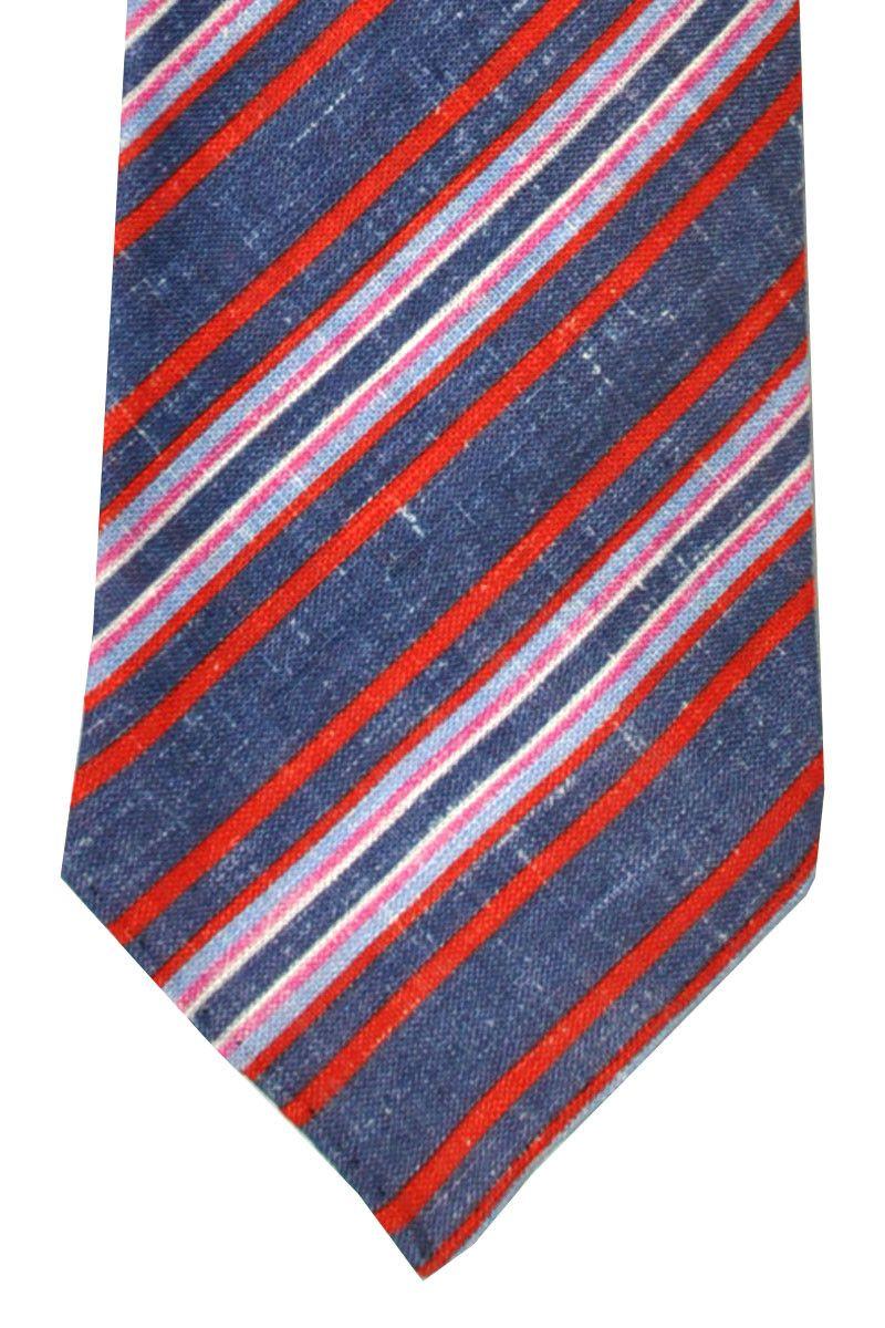 Puike stropdas, die zie je niet veel een linen sevenfold das. Kiton tie linen ties at 65% off - navy red striped design