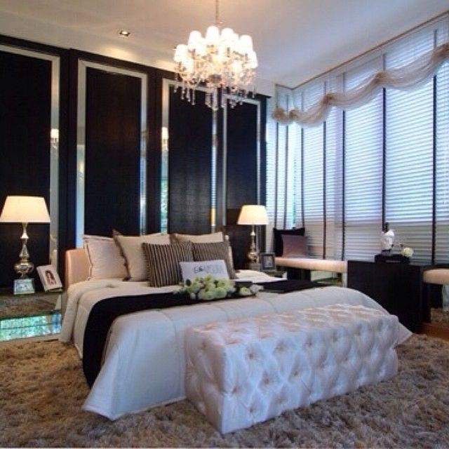 Glam And Luxurious Black And White Bedroom