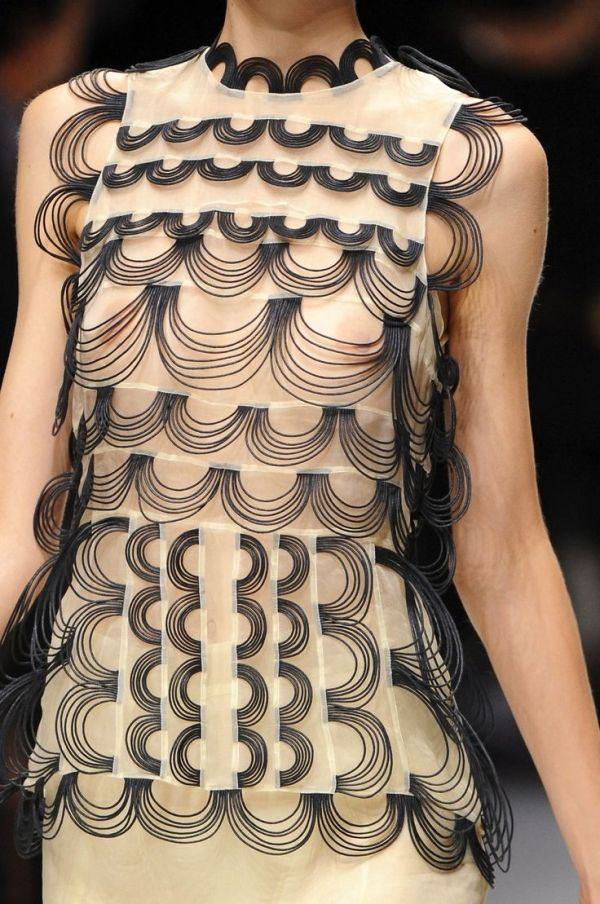 Sheer panel dress with corded patterns - textiles design for fashion; fabric manipulation; surfaces // Christopher Kane by twobluecrows