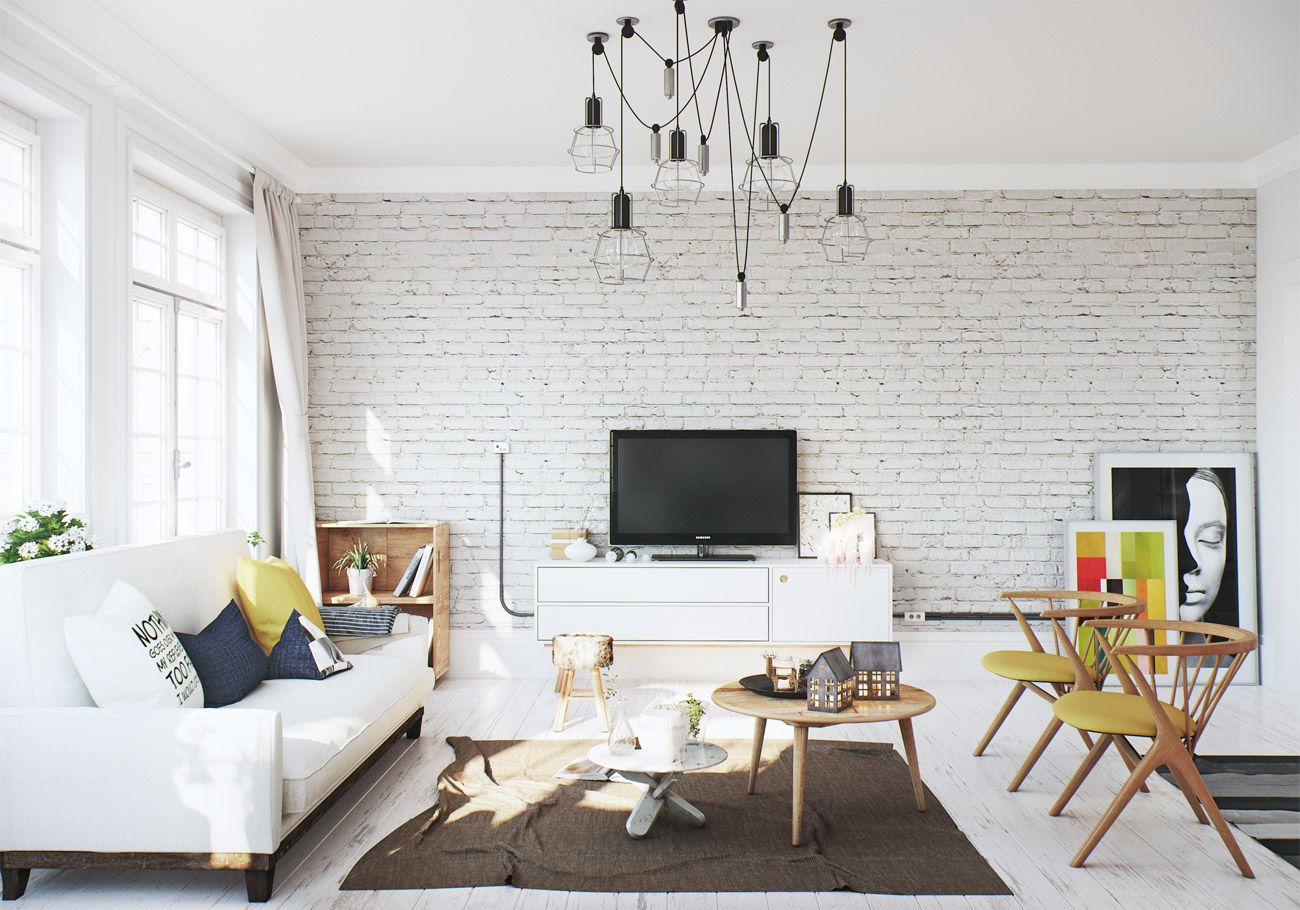 Making Of Scandinavian Apartment Brick Living Room White Brick Wall Living Room Brick Interior Wall