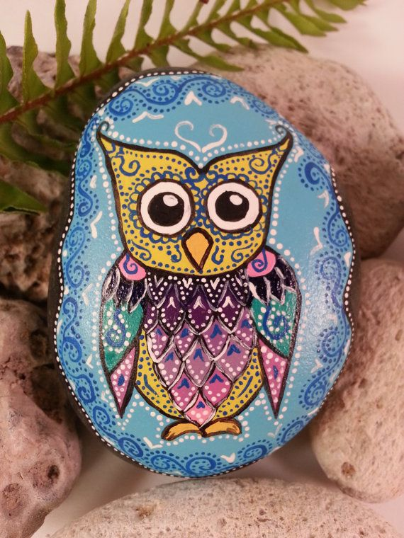 Eclectic Protector Owl - Hand Painted Rock