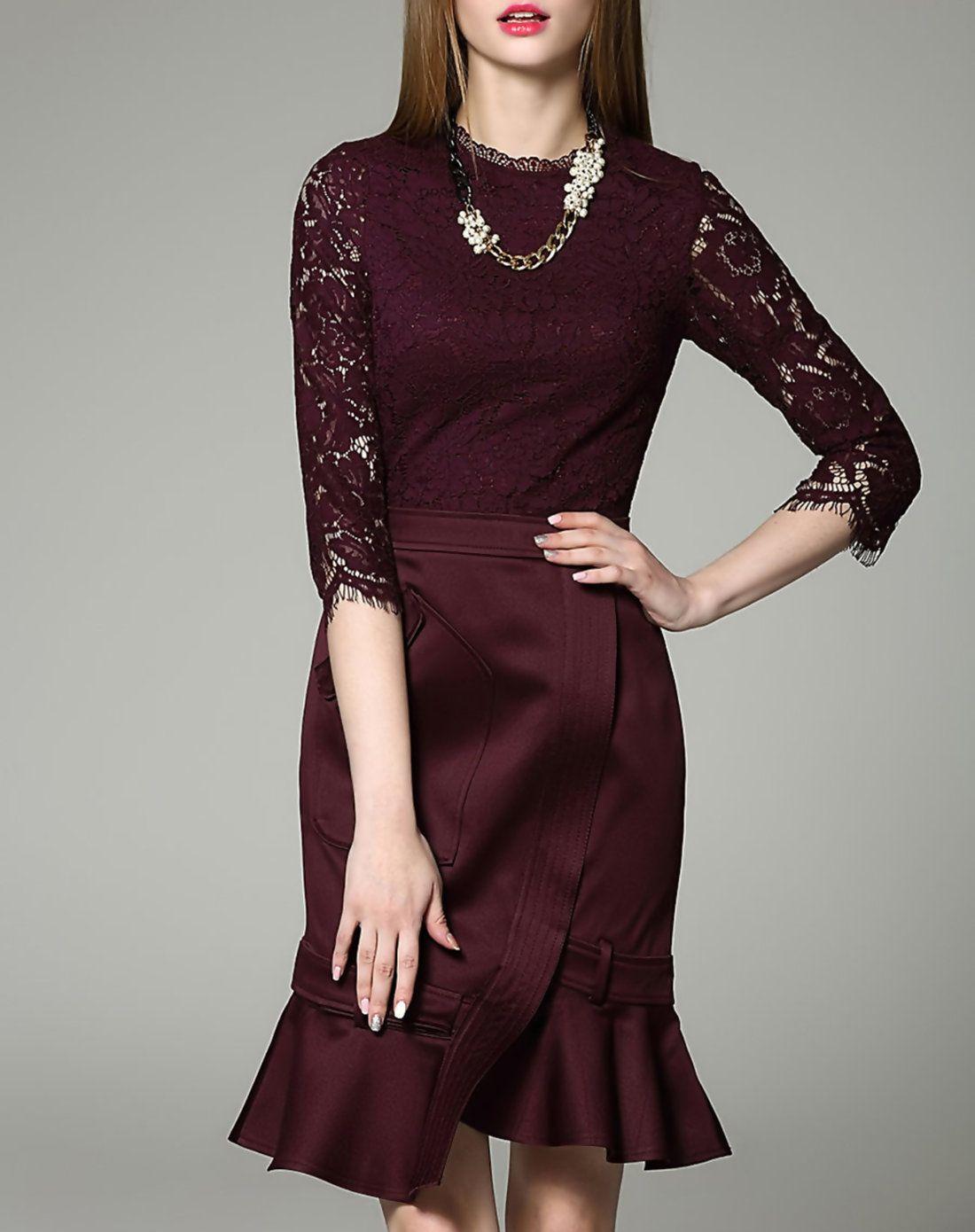 Adorewe charsu exquisite red stand collar half sleeve aline paneled