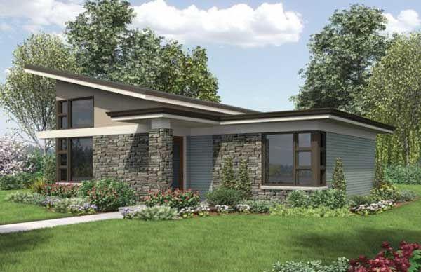 Vista delantera o frontal de este dise o y planos de casa - Casas prefabricadas de diseno moderno ...