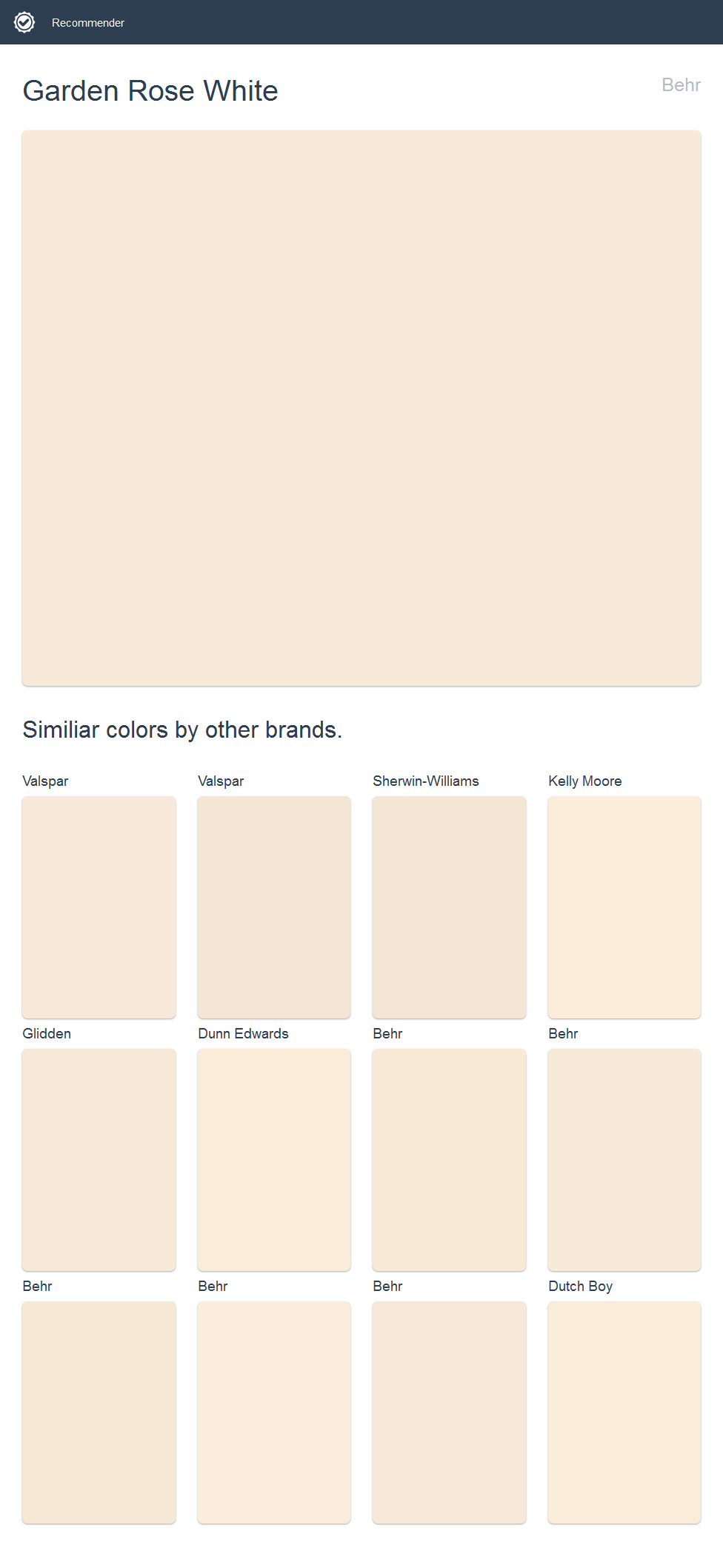 Garden Rose White Behr Click The Image To See Similiar Colors By Other Brands