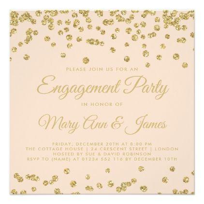 Gold Faux Glitter Confetti Blush Rose Engagement Card Glitter - engagement card template