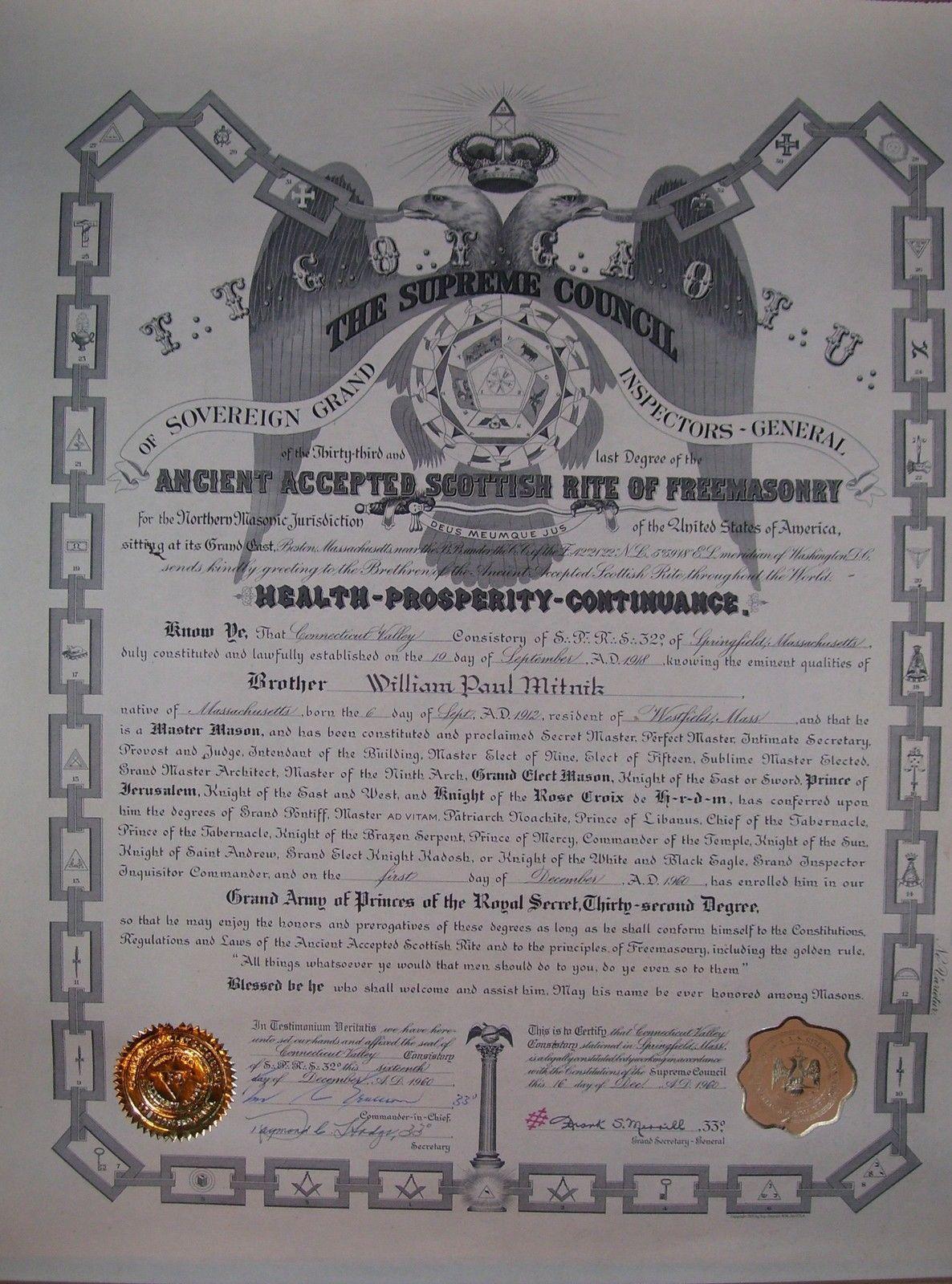 Masonic Mason Master Shriner 32 Degree Scottish Rite