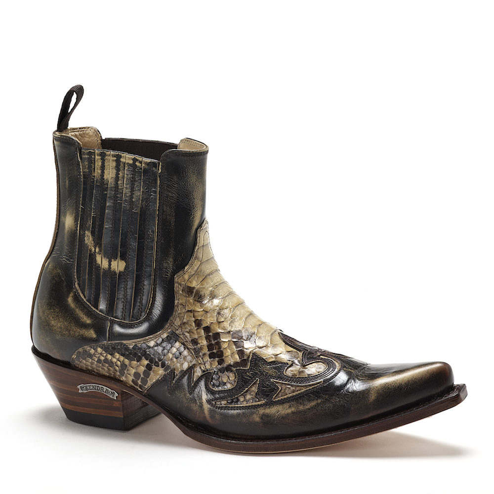 Mens Sendra 9396 Natural Snakeskin Ankle Boot | Snakeskin