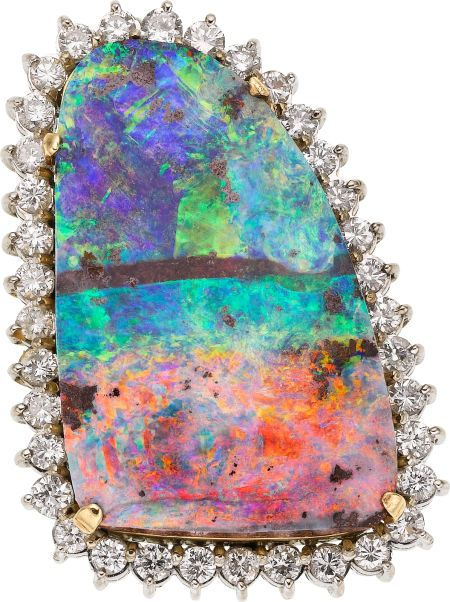 Boulder Opal, Diamond, Gold Pendant - The pendant features a boulder opal tablet measuring measuring 31.00 x 20.00 x 6.00 and weighing approximately 17.25 carats, enhanced by full-cut diamonds weighing a total of approximately 1.80 carats, set in 14k gold, having rhodium finished accents, completed by a hook on the reverse. Gross weight 19.20 grams. Dimensions: 1-1/2 inches x 1 inch