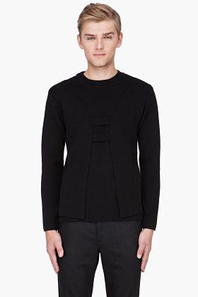 MUGLER Black Cutout Front sweater <-- The cut-out is subtle - awesome!