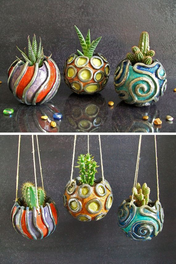raku ceramic planter pot set for succulents and plants, hangable geometric pot inspired by coral reef, various sizes and customizable